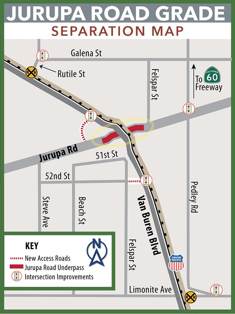 Jurupa Road Grade Separation detour map